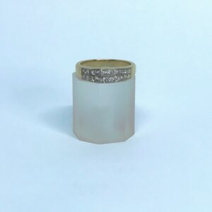 yellow gold fourteen karat princess cut diamond band approximately two carats total diamond carat weight