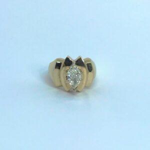yellow gold fourteen karat retro design solitaire marquise diamond one point zero one carats