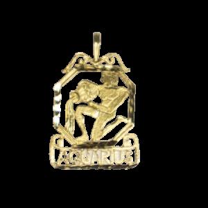 astrological charm yellow gold fourteen karat aquarius