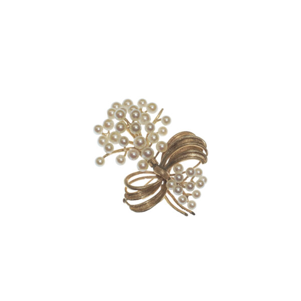 retro cultured pearl clusters bouquet design yellow gold fourteen karat with round hinge safety catch