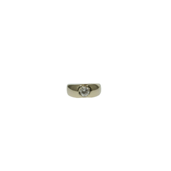 mens yellow gold fourteen karat gold with round brilliant diamond approximately point sixty five carat