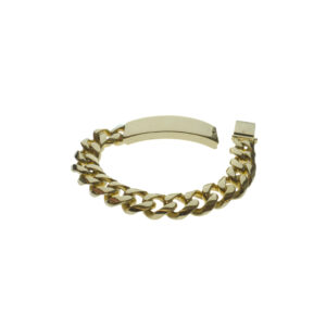 Mens bracelet yellow gold fourteen karat curb link with id nine inches in length