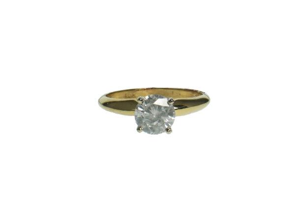 Ladies Diamond Engagement Ring Yellow Gold Fourteen Karat With Round Brilliant Cut Diamond One Point Zero Two Carats