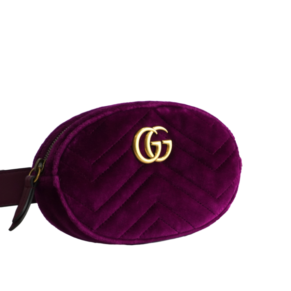 gucci purple velvet with pink satin lining purple leather belt zip top closure certificate of authenticity and black non logo dustbag included