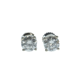 white gold fourteen karat gold four prong basket setting round brilliant diamond earrings approximately two carats total carat weight and secure screw back posts