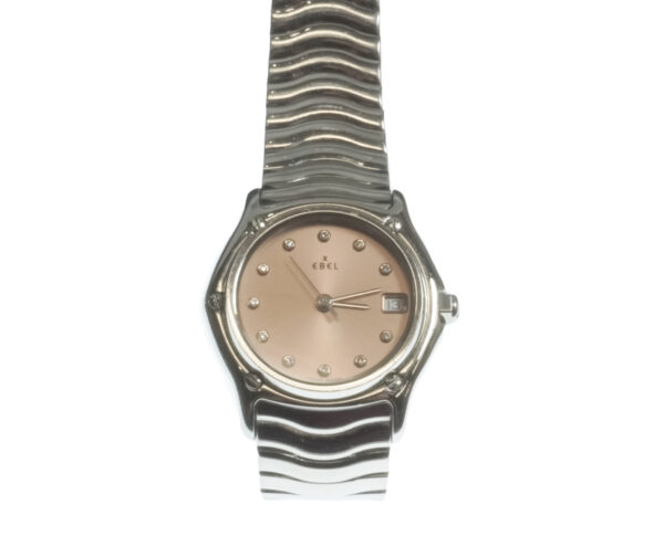 stainless steel ladies watch peach face silver markers on dial date at three o clock quartz movement ebel brand swiss made