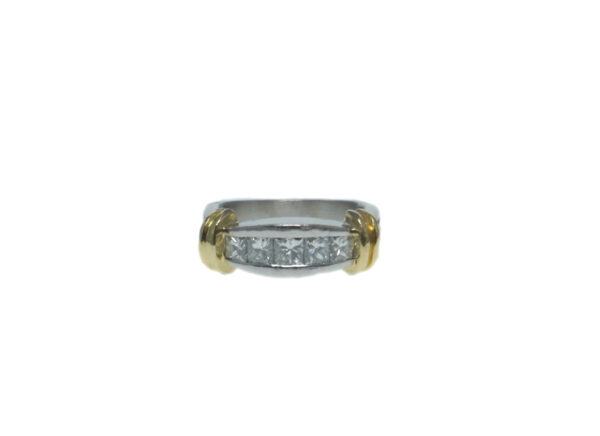 ladies platinum band with raised yellow gold eighteen karat ridges and total of five princess cut diamonds approximately point seventy total carat weight