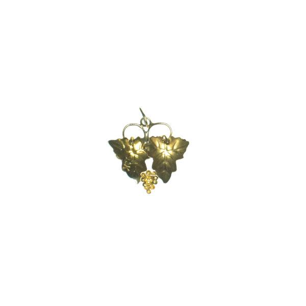 yellow gold twelve karat tri colored grape leaves charm