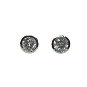 white gold fourteen carat one point twenty five each round brilliant cut diamonds earrings bezel setting style secure screw back style