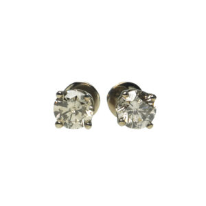 white gold fourteen karat round brilliant diamond earrings approximately two point zero carats total weight four prong screw back settings