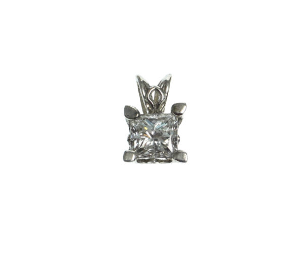 white gold fourteen karat princess cut diamond charm set in four prong tapered basket setting with fleur de lis design approximately one point zero total carat weight