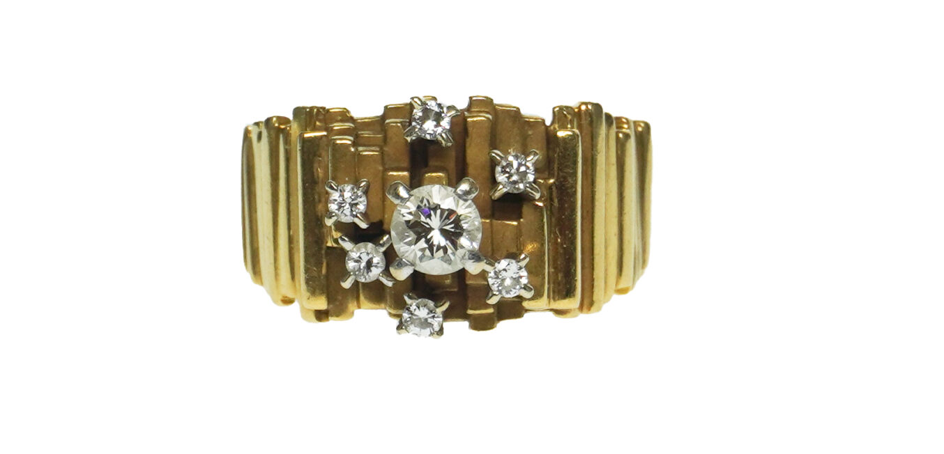 Mid Century Modern 18k Diamond Ring
