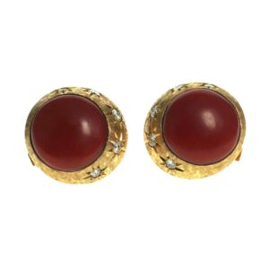 yellow gold fourteen karat round cabochon coral earrings with five round brilliant cut diamonds on each at approximately zero point ninety eight total diamond carat weight with secure post and clip on style backings