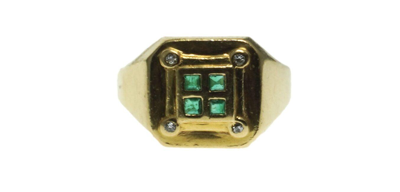 Men's 18 Karat Emerald Ring