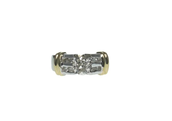 engagement style two toned fourteen karat raised accent ring with center four prong set round brilliant cut diamond approximately zero point seventy five carats and a total of eight channel set round brilliant cut diamonds approximately zero point zero five carats each