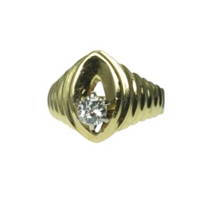 ladies yellow gold fourteen karat round brilliant solitaire diamond approximately point forty carats