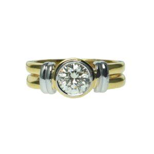 yellow gold eighteen karat two toned round brilliant diamond approximately one carat