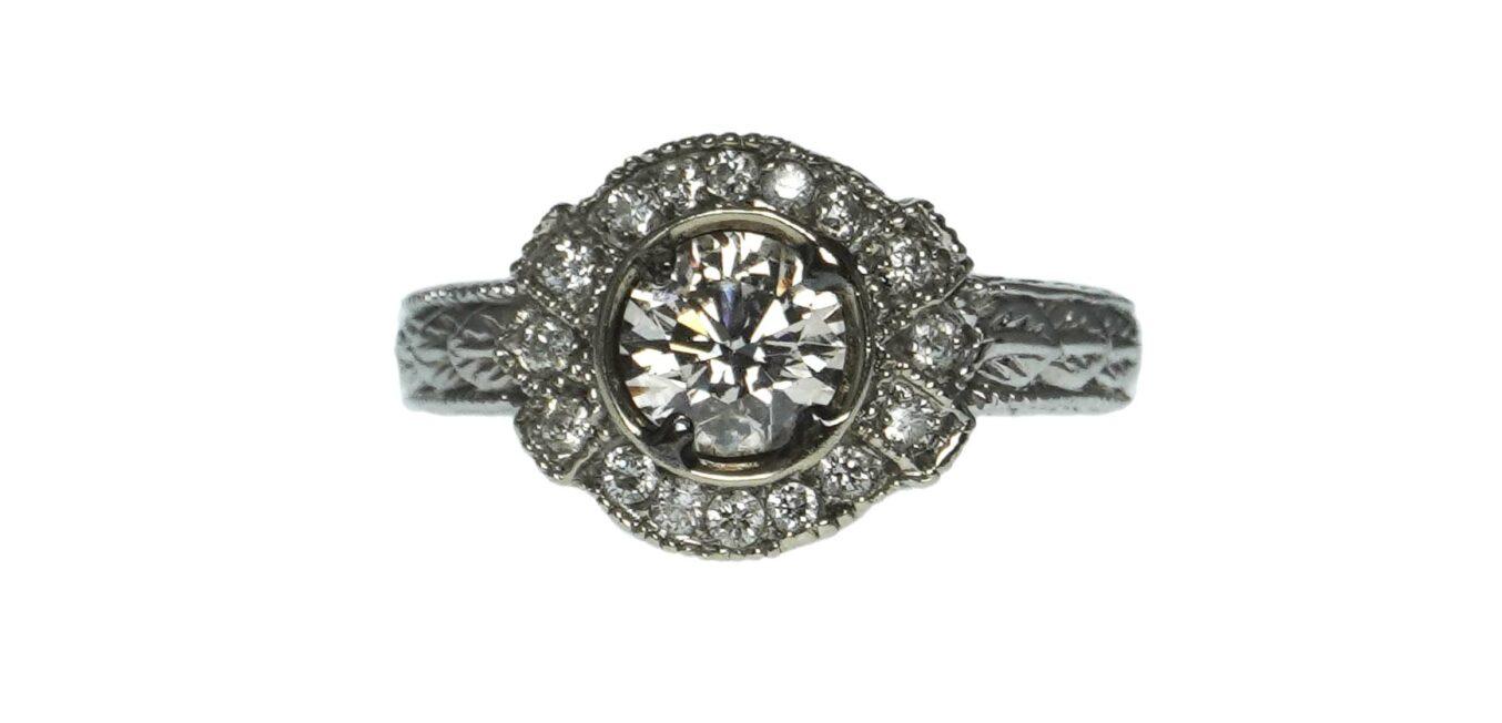 Halo Style Diamond Statement Ring