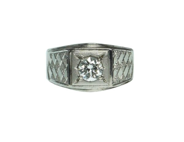 platinum signet weave design setting with single round brilliant cut diamond approximately zero point fifty one carats and gia diamond dossier included v s one clarity grade and f color grade