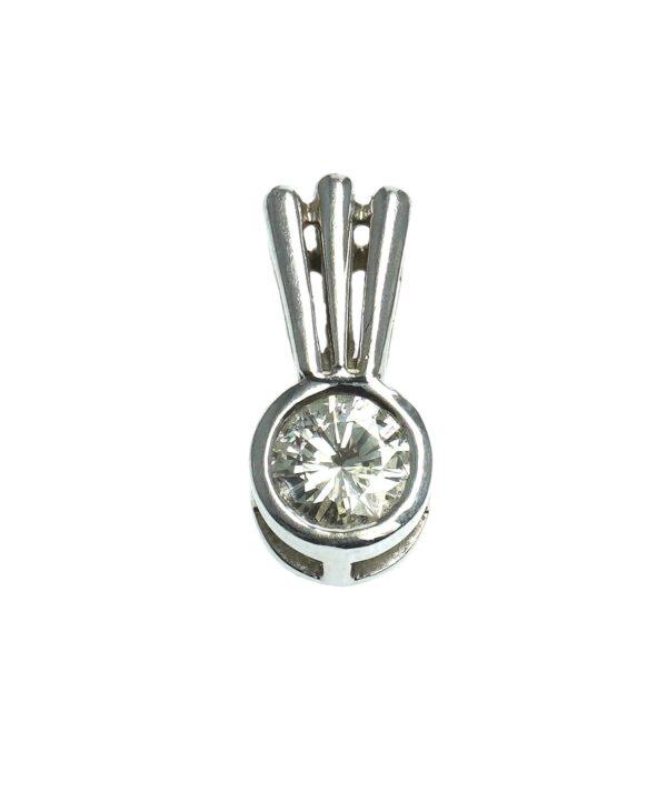 white gold fourteen karat bezel set round brilliant cut diamond approximately zero point seventy five carats slide style charm