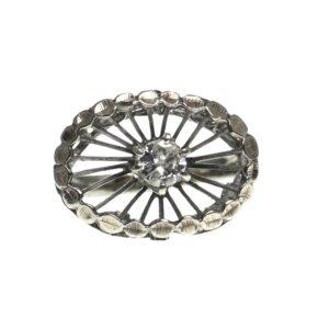 ladies white gold ten karat spiral style mounting with center round brilliant diamond approximately zero point thirty three carats