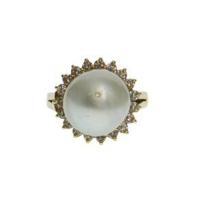 ladies yellow gold fourteen karat cultured pearl ring with twenty round brilliant cut diamond chips halo setting