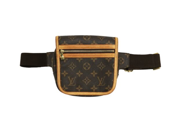 louis vuitton traditional louis vuitton toile canvas bosphore waist bag featuring cowhide leather trim front zipper pocket adjustable dark brown canvas belt strap with brass hardware and magnetic close flap grade b good condition certificate of authenticity provided
