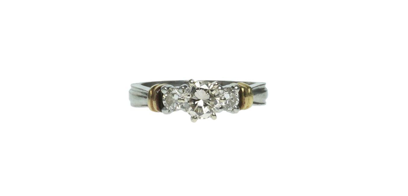 Platinum and 18k Gold Diamond Engagement Ring
