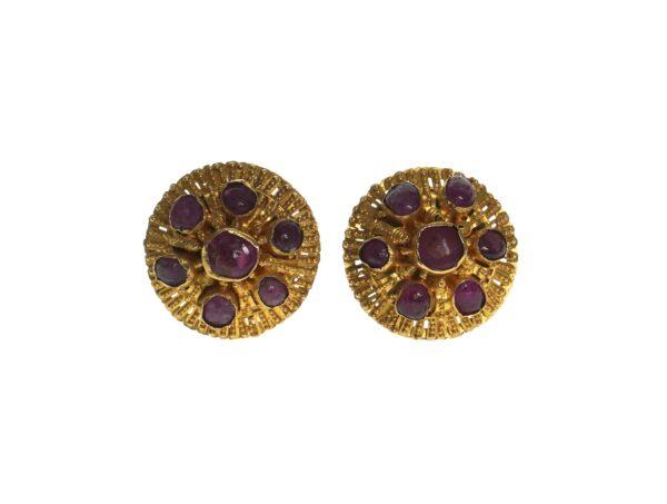 yellow gold twenty two karat venetian entruscan style post earrings with seven cabachon cut bezel set rubies on each earring and scroll style butterfly backs