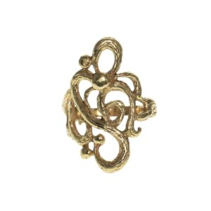 yellow gold fourteen karat open modern textured swirl design ring
