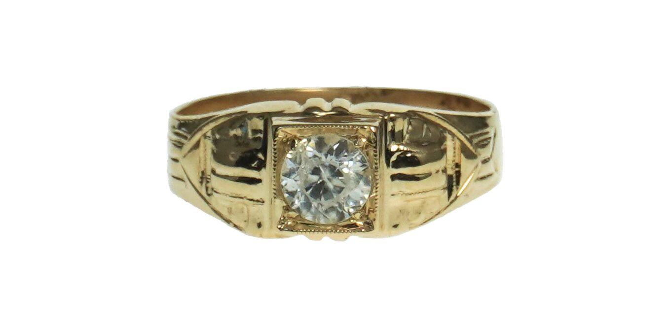 Yellow Gold CZ Ring