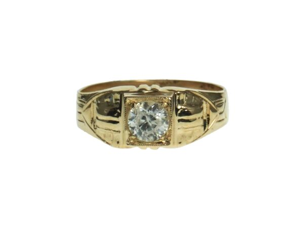 men's yellow gold fourteen karat ring with a single round transparent stone