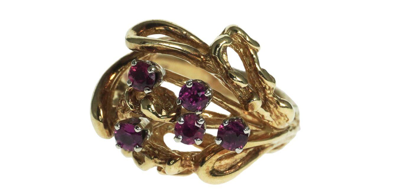 Abstract Modern Gemstone Ring