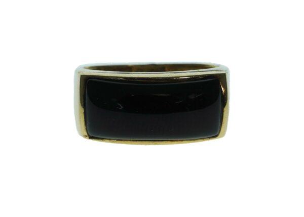 yellow gold fourteen karat eastern style black onyx ladies ring