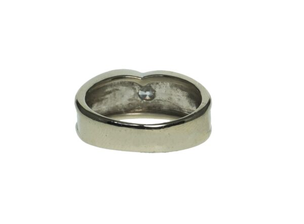 ladies white gold fourteen karat ring with a single round brilliant cut white stone with satin finish middle section and smooth sides