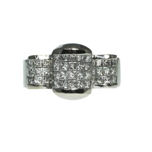 white gold eighteen karat wide bold modern design composite diamond setting with forty four princess cut diamonds approximately zero point ten carats each and ten tapered diamond baguettes approximately zero point zero seven carats each
