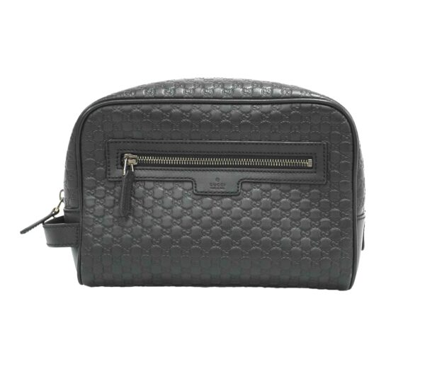 gucci microguccissima black embossed monogram leather side black leather handle silver tone hardware double interior pockets protective base feet certificate of authenticity provided grade ab great condition